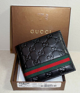 d85a3485799034 New Men's Gucci Leather WEB Bifold BLACK Wallet New in box | eBay