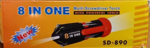 SCREWDRIVERS 8 IN 1 with POWERFUL TORCH UK SELLER FAST /& FREE DISPATCH