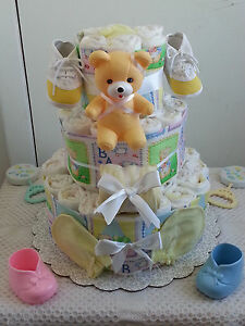 Image Is Loading 3 Tier Beary Beautiful Baby Diaper Cake Shower