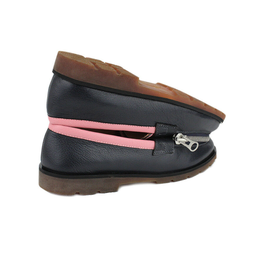 Ketevane Maissaias Navy Moccasins Blue Pink Grained Leather Zipped Moccasins Navy IT37 UK7 38ad01