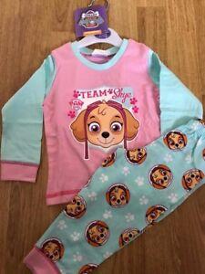 Bnwt Baby Girl Rose Aqua Paw Patrol Skye Long Pyjamas 100% Coton 12-18 Mois-afficher Le Titre D'origine