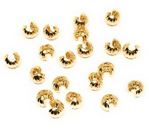 gold plated brass crimp bead covers 4mm corrugated