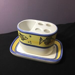 FFA-Malveira-Portugal-Handpainted-By-Naterica-Toothbrush-Caddy-And-Dish-Fish