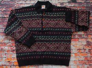 Vintage-80s-90s-Stefanel-Italien-Bill-Cosby-Strick-Kragen-Sweater-Pullover-Pulli-Large