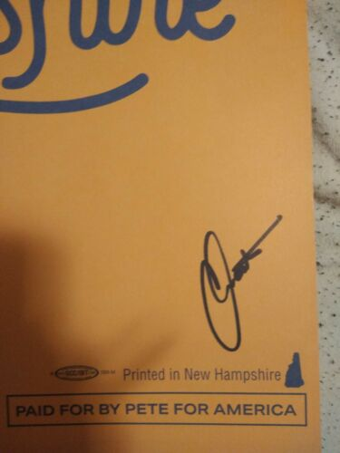 Chasten Budigieg Pete/'s Husband Signed New Hampshire For Pete Signed Placard