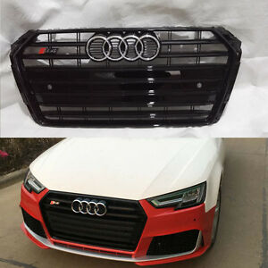 Black Front Bumper Grille Grill For Audi A4 B9 Saloon 2016 2018 To