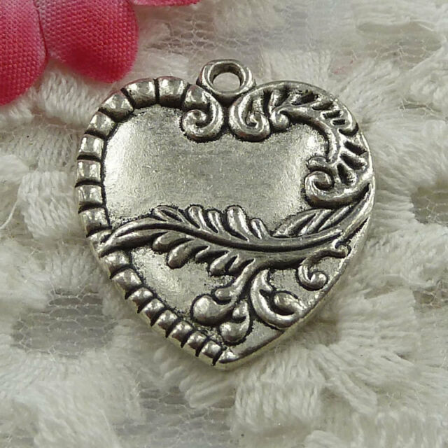 Free Ship 20 pieces Antique silver heart charms 27x24mm #1073