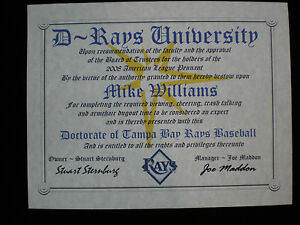 RAYS FAN ~TAMPA BAY RAYS~CERTIFICA<wbr/>TE ~DIPLOMA~ GIFT~ MAN CAVE ~ OFFICE ~ FAN
