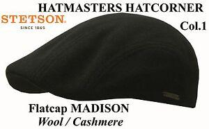 STETSON-FLATCAP-MUTZE-KAPPE-MADISON-WOLLE-KASCHMIR-SCHWARZ-1-NEU-TREND