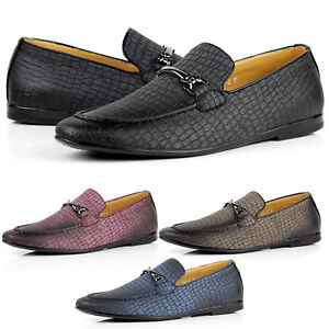 332ab80b2d3 Details about Mens Slip On Crocodile Loafers Flat Driving Shoes Casual  Smart Moccasin UK Size