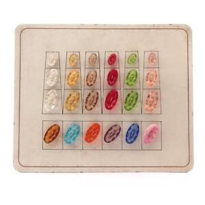 Sample Card (24) Czech 1920s Art Deco transparent oval faceted art glass buttons