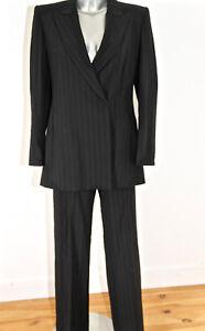 luxueux tailleur pantalon laine noir rayé classe bcbg MAX MARA size ... cafb02c549ec