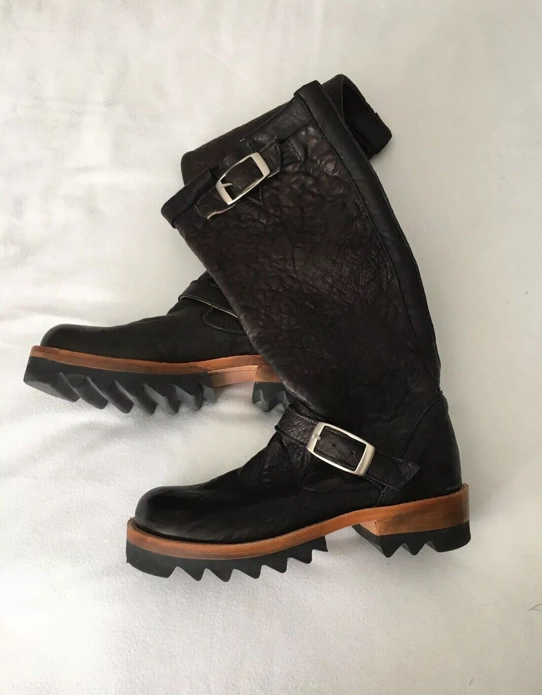 Jim Barnier Black Pull On Lug Sole Boots, Size 6, NEW