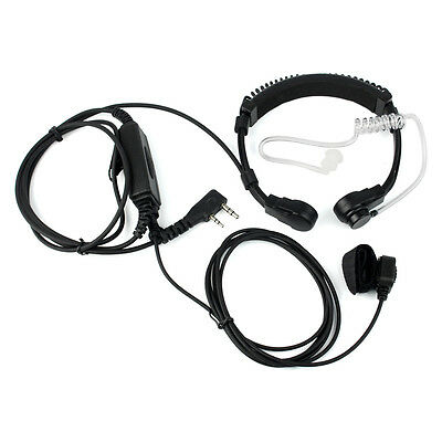 2 pin Covert Acoustic Tube Earpiece Headset PTT Throat MIC for Retevis H777/888s