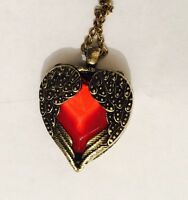 Vintage Style Heart Necklace Antique Gold Intricate Design