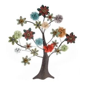 Metal Tree Wall Decor Art Sculpture With Multi-colored Flowers Shabby Chic XXL