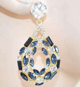 ORECCHINI-ORO-BLU-CRISTALLI-donna-strass-eleganti-pendenti-a-goccia-cerimonia-Z1