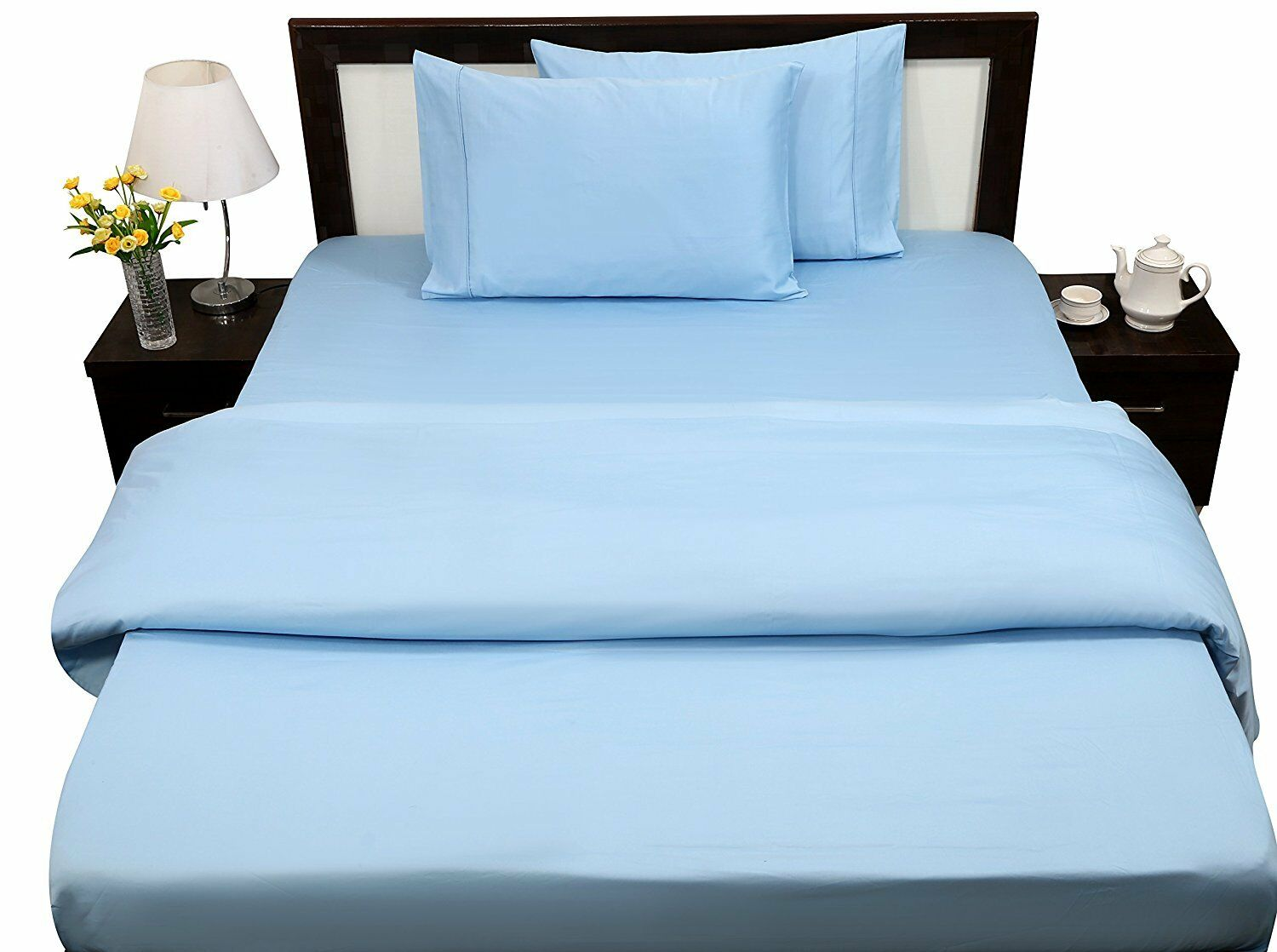 SUPER SOFT BED SHEET SETS LIGHT blueE SOLID COTTON 800-TC ALL SIZE 15 INCH DROP