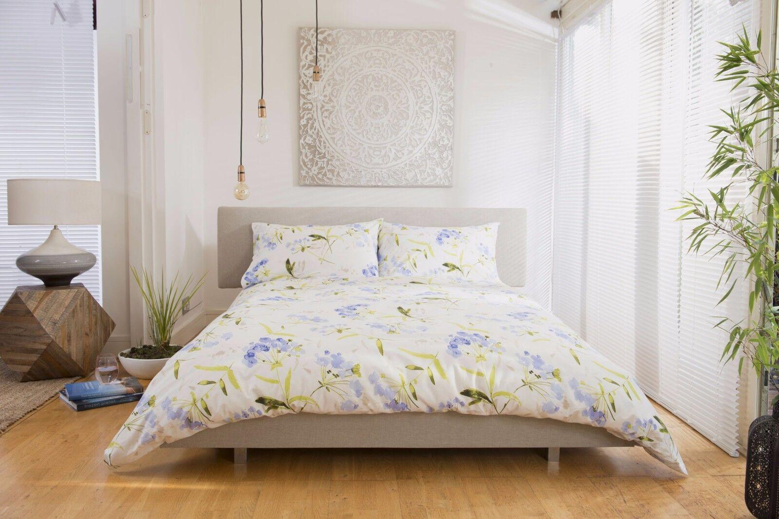 Blau Floral Design Duvet Cover Set Superking Bed Größe 260cm x 220cm