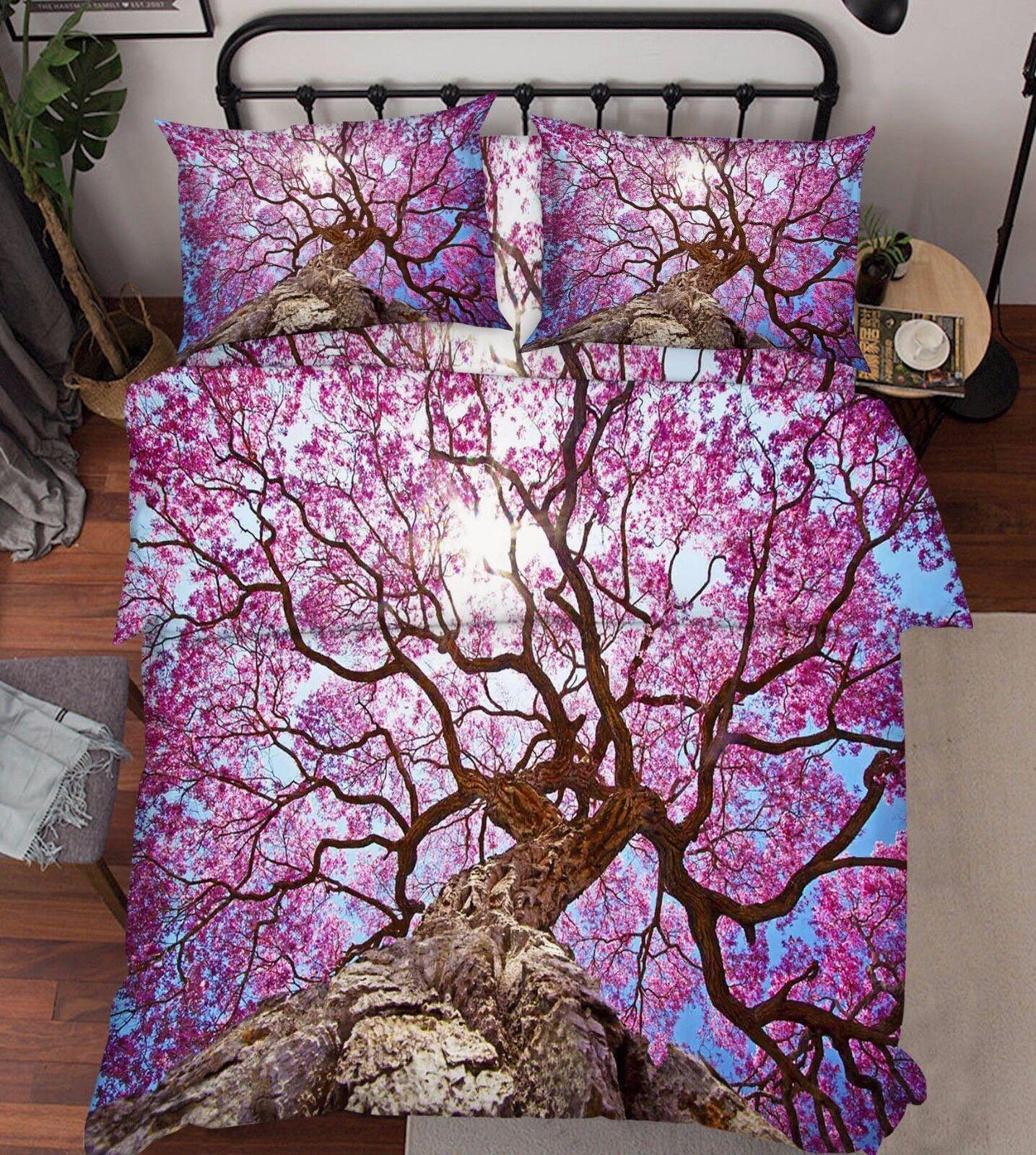 3D Tree Flowers 708 Bed Pillowcases Quilt Duvet Cover Set Single Queen UK Kyra
