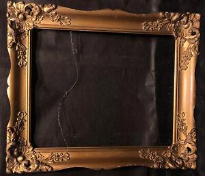 Antique Vintage Victorian  Gold Gilt Frame Carved Floral Gesso Art Frame Oil