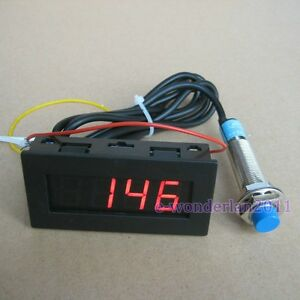 Proximity-Switch-Sensor-NPN-3-Wires-4-Digital-Red-LED-Tachometer-RPM-Speed-Meter