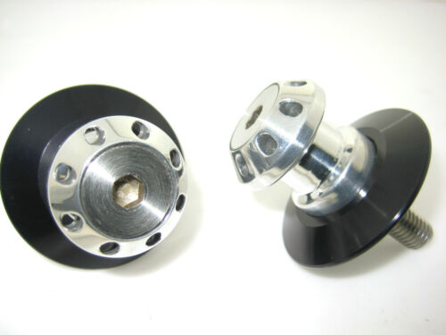 MotoGems M8 drilled race stand spools with swingarm protector to suit Suzuki