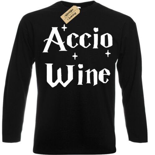 Accio WINE Mens T-Shirt Funny harry long sleeve potter gift