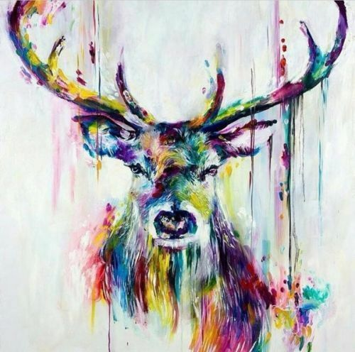 CHENPAT342 animal multi-color deer art 100/% hand-painted oil painting on canvas