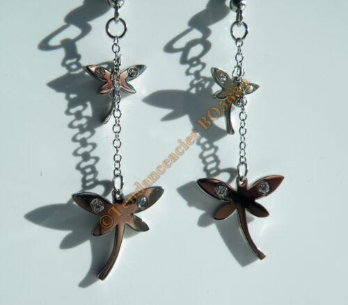 Boucles d/'Oreilles Acier Inox Pendantes 2 Libellules Cz