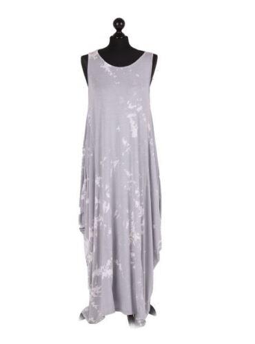 Plus senza jeans Dye maniche Ladies Italian Taglie Abito scuro New antracite Tie blu Donna Nero Lagenlook argento bianco wBSCqzRW