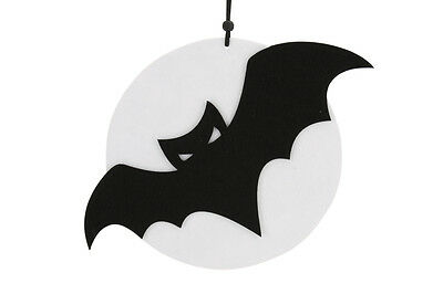 Large Black & White Halloween Felt Hanging Bat On Moon Scary Party Decorations