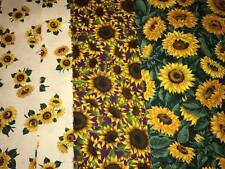 1 1/3+ Yds Sunflower Cotton Quilt Fabric 3 Different Prints Yellow Green White