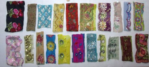 VERY RARE LOT Antique Vintage Sari TRIM LACE RIBBON 30 Pcs EMBROIDERED CRAFT