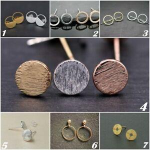 Paar-Ohrstecker-Kreis-Platte-minimal-Symbol-silber-gold-rosegold-Ohrringe