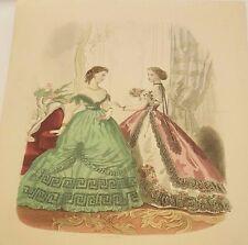 """Spanish Fashion - """"LA MODA ELEGANTE ILUSTRADA - # 56"""" - Two (2) Ladies - 1866"""