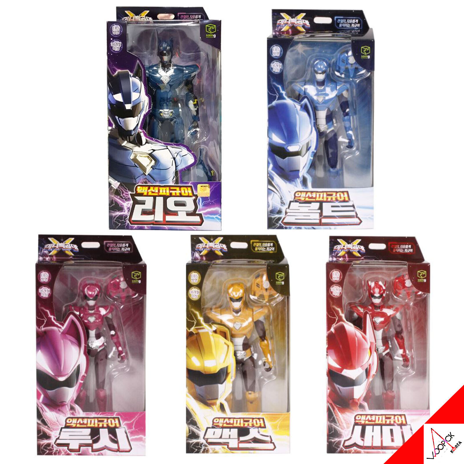 [MINIFORCE] Mini Force X Super Ranger Action Figure 5 Set-BOLT LEO MAX LUCY SEMI