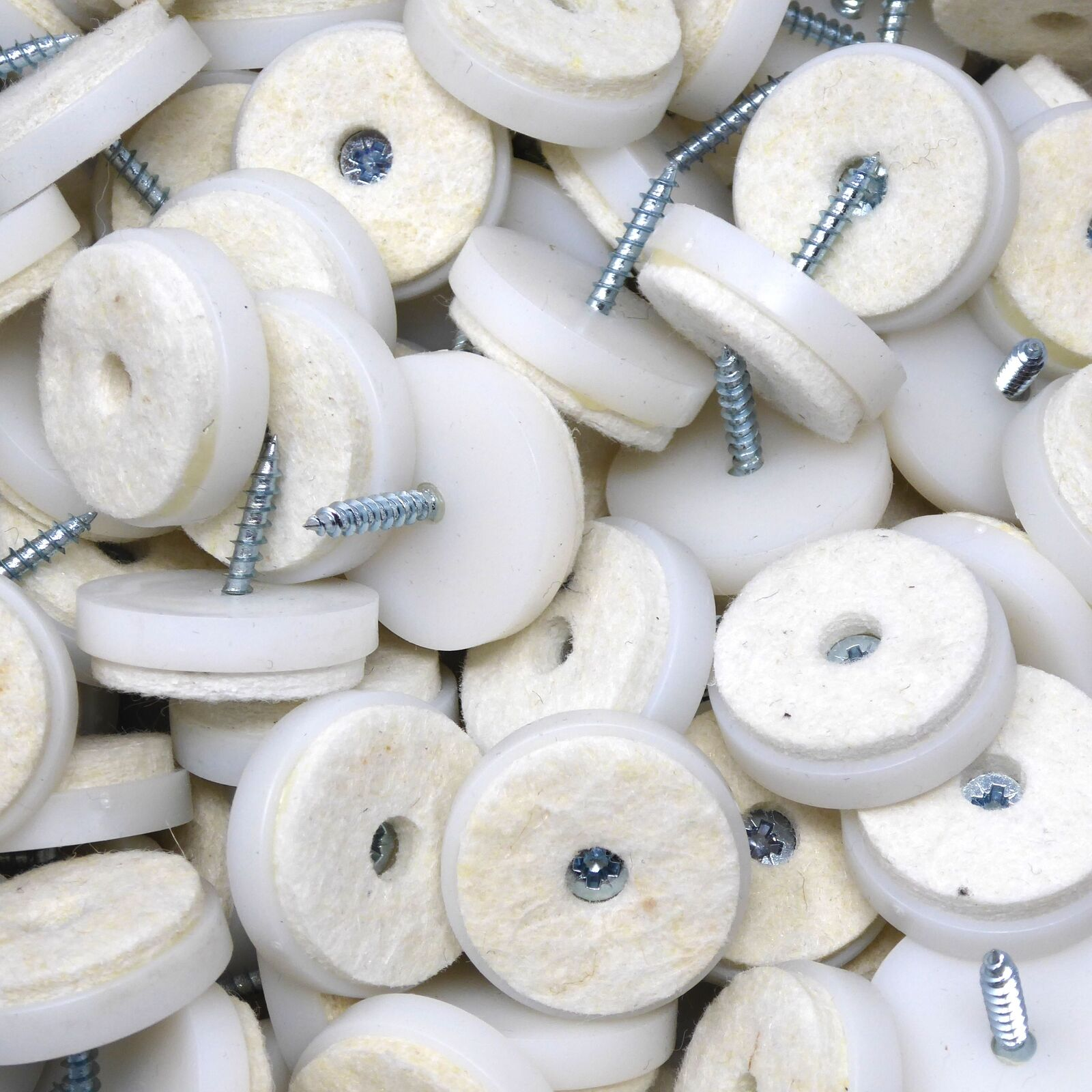100 x Felt-pads with screws   Ø 1,1'' (Ø 28 mm)   Weiß   round   Premium qualit