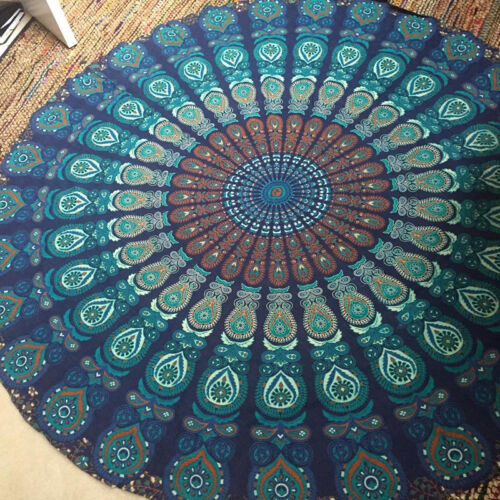 Mandala Indian Tapestry Hippie Throw Boho Beach Yoga Round Mat Towel Blankets US