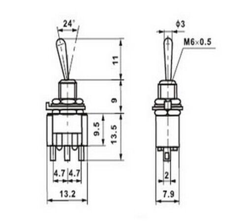5 Mini Interruptor de palanca para Barco Coche Dashboard modelo ferroviario Arduino SPDT ON-OFF-ON