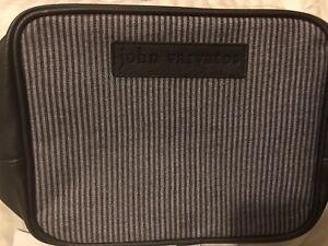 2 pc John Varvatos Travel Toiletry Bag  Grey Black Artisan Acqua .05 oz  NEW