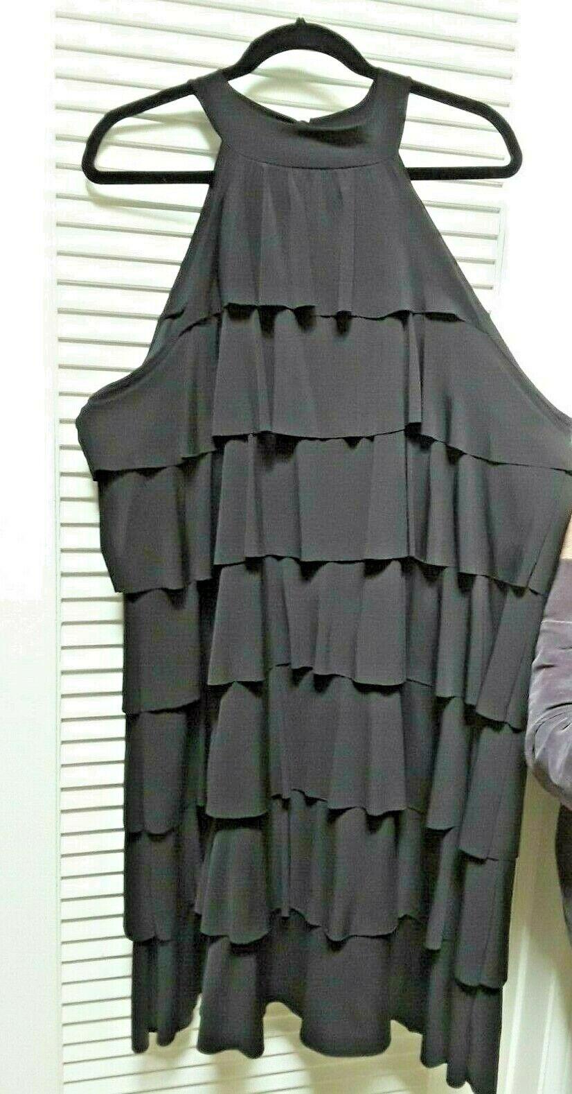 Susan Lawrence Womans schwarz Ruffle Tierot High Neck Party Cocktail Dress Plus 3X
