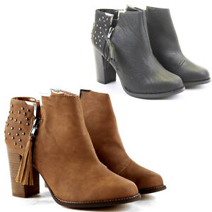 Womens-Heeled-Booties-High-Heels-Block-Shoes-Ankle-Boots-Size