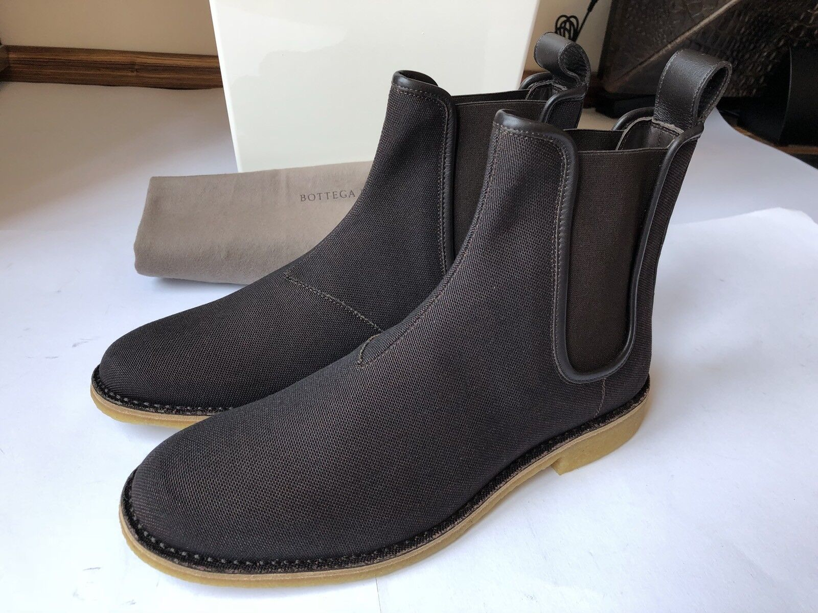 c0995aa6e69421 BOTTEGA VENETA Chelsea Boots Oxford Canvas mit Kalbsleder Espresso 43 NEU