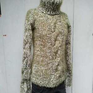 Knit-Hand-Cable-Mohair-Men-039-s-Turtleneck-Green-Melange-Handmade-Hairy-Ski-Sweater
