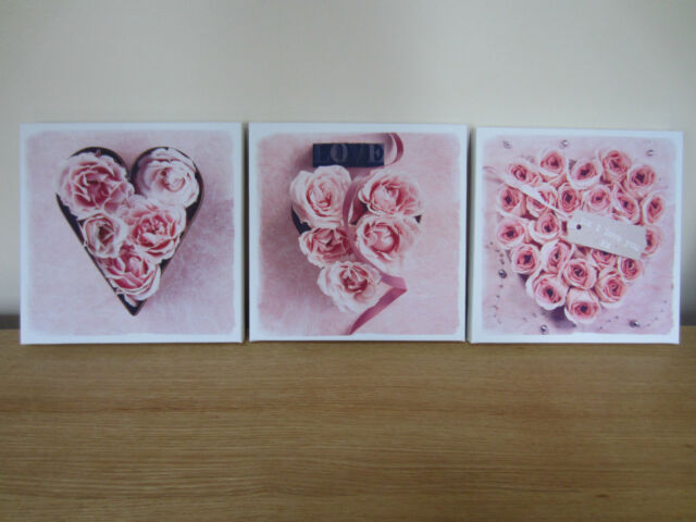 SET Of 3 PINK ROSE LOVE HEART FLOWER CANVAS WALL ART PICTURE SHABBY CHIC NEW