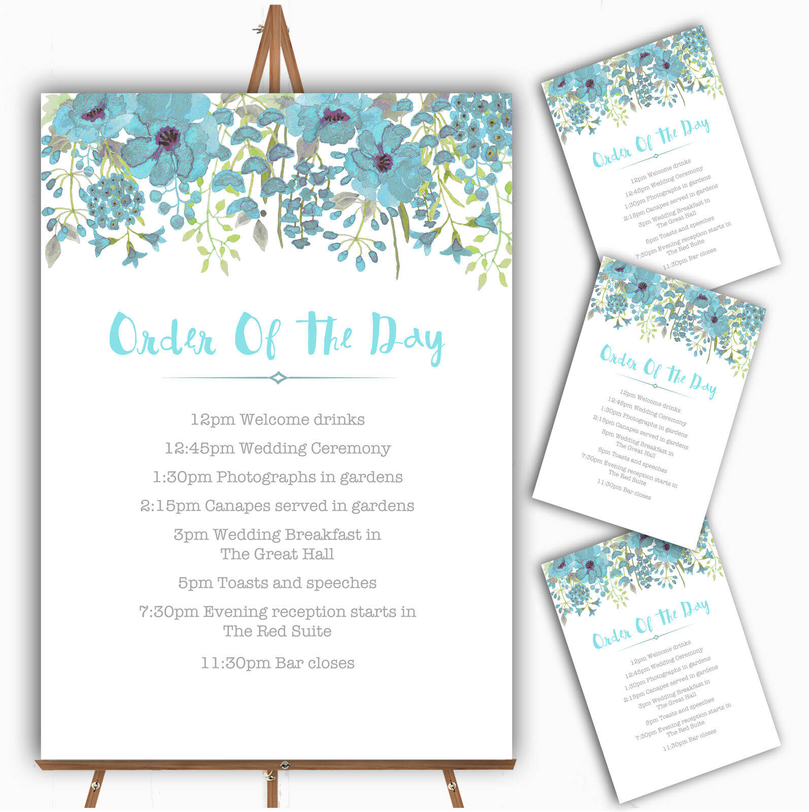 Watercolour Floral Blau Personalised Wedding Order Of The Day Cards & Signs