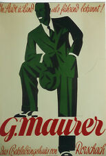 Original Plakat - G. Maurer - Das Bekleidungshaus in Rorschach