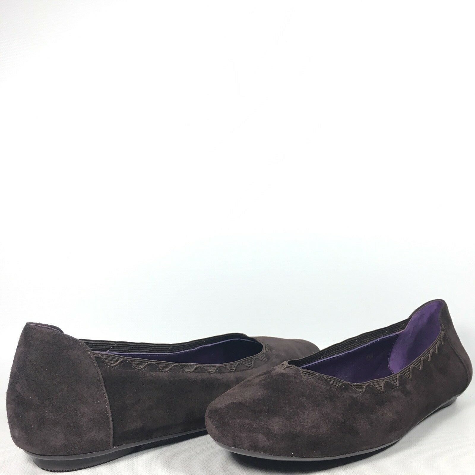 "VANELi VANELi VANELi Purple Collection ""Busby"" Womens 9.5 M Brown Suede Elastic Ballet Flats 96aa7a"