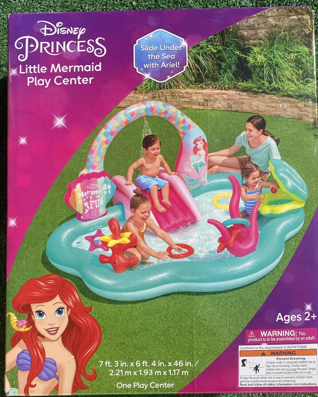 New Disney Ariel Little Mermaid Kids Inflatable Swimming Pool Slide Water Set!
